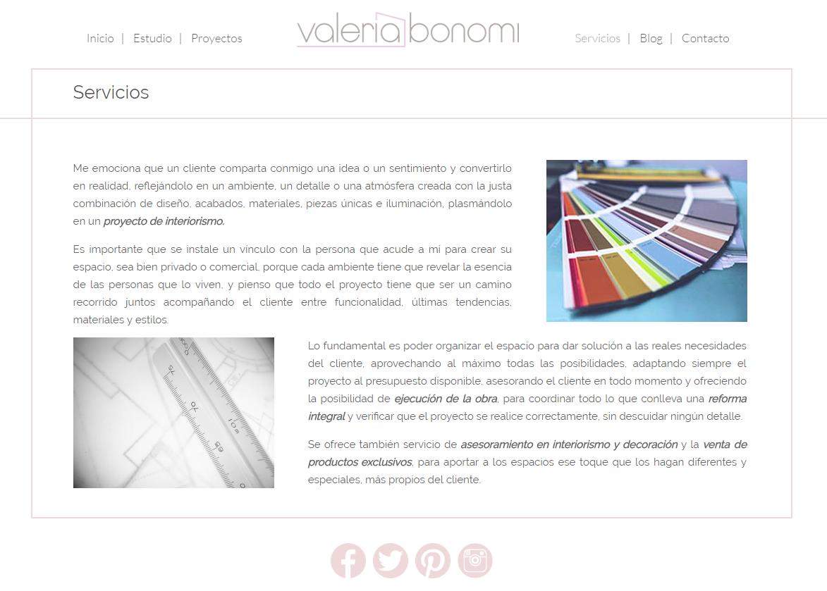 Diseño Web Estudio Interiorismo Valeria Bonomi imagen 2