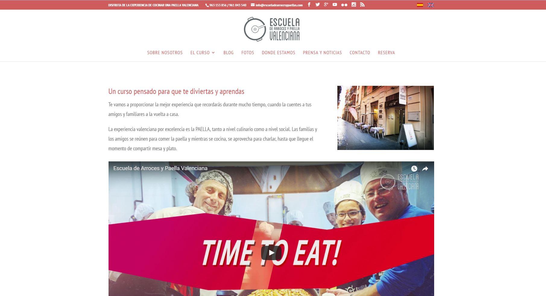 Diseño web Escuela de arroces y paellas imagen 3
