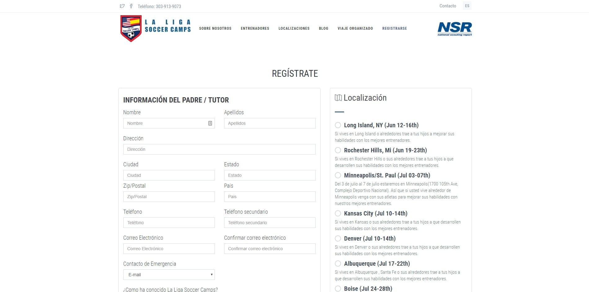 Diseño web La Liga Soccer Camps imagen 4