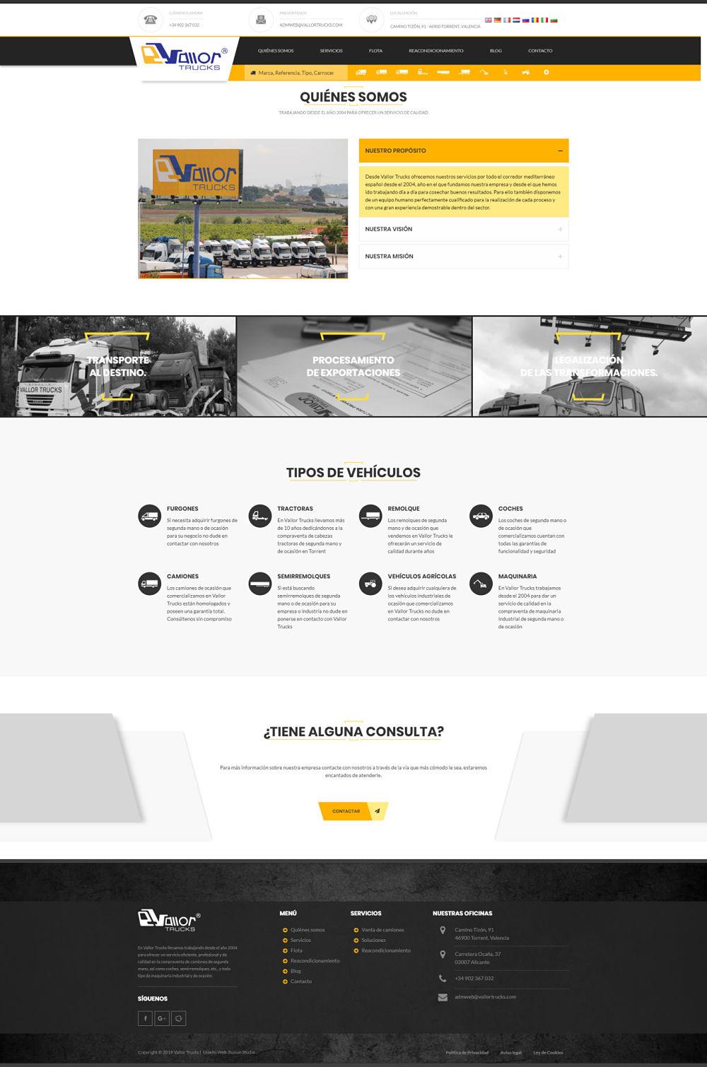Caso de éxito web a medida Vallor Truck